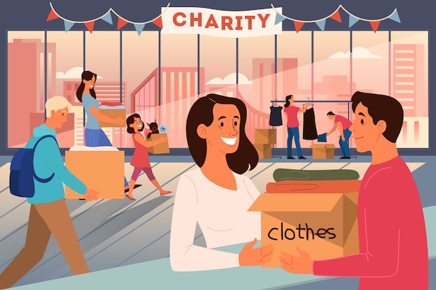 Koncepcja dobroczynności. ludzie ofiarowują rzeczy, aby pomóc biednym ludziom. przekaż darowizny i dziel się miłością. idea pomocy humanitarnej. ilustracja