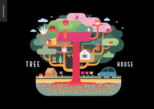 Koncepcja domku na drzewie