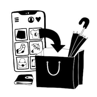 Koncepcja doodle zakupy online. ilustracja z ogromnym telefonem komórkowym i papierową torbą w czerni i bieli.
