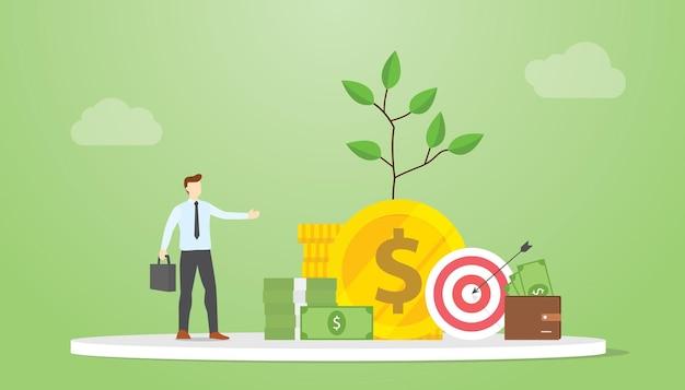 Koncepcja doradcy inwestycyjnego z pieniędzmi i poradami dotyczącymi inwestycji finansowych z nowoczesną ilustracją wektorową w stylu płaskim