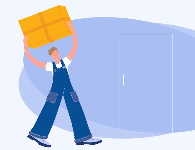 Koncepcja dostawy. dostawa. kurier dostarcza przesyłkę. dostawa do drzwi. wektor