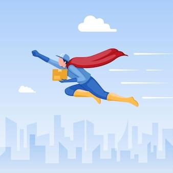 Koncepcja dostawy ekspresowej kurier superbohatera latający szybko przesyłka transportowa dostarczona do klienta