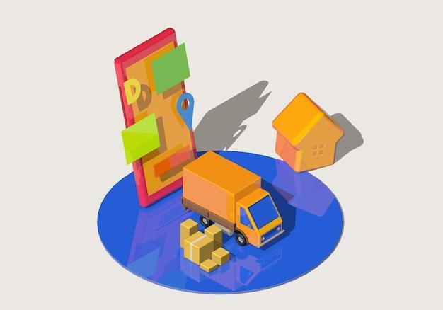 Koncepcja dostawy izometrycznej z żółtą ciężarówką, smartfonem i pudełkami