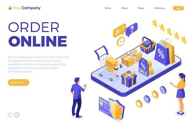 Koncepcja dostawy izometrycznej zakupów online.