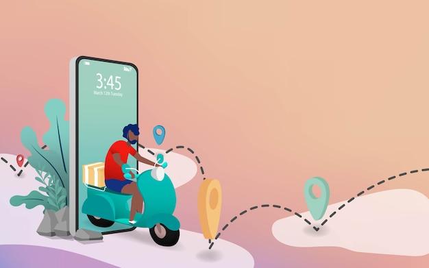 Koncepcja dostawy motocykla. motocykle z pudełkiem do dostawy w technologii cyfrowej od projektu telefonu. rewolucja new age w branży dostawczej. tło strona docelowa witryny
