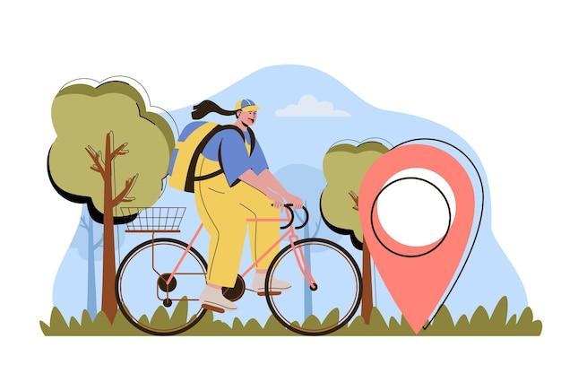 Koncepcja dostawy na czas kobieta kurier niesie paczkę na rowerze do domu klienta