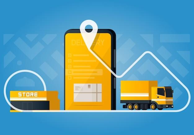 Koncepcja dostawy płaskiej z żółtą ciężarówką i ilustracją smartfona