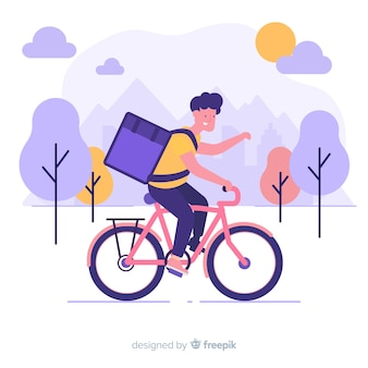 Koncepcja dostawy rowerów w stylu płaskiej
