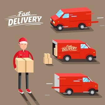 Koncepcja dostawy. szybka dostawa furgonetki. dostawca. ilustracji wektorowych