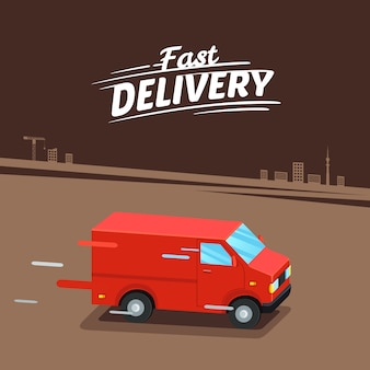 Koncepcja dostawy. szybka dostawa furgonetki. znak szybkiej dostawy. ilustracji wektorowych