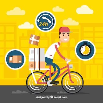 Koncepcja dostawy z deliveryman na bycicle