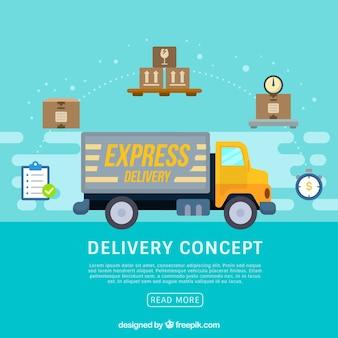 Koncepcja dostawy z nowoczesnym ciężarówką