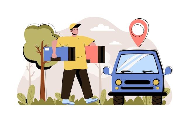 Koncepcja dostawy zamówienia kurier przewozi paczki do samochodu w celu dostarczenia do klienta