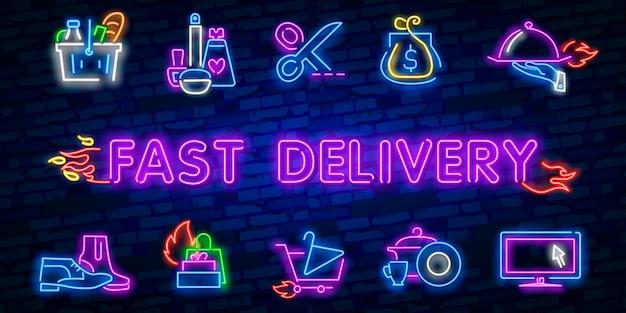 Koncepcja dostawy zaprojektuj szablon neonu, lekki baner, neonową tablicę, nocną jasną reklamę, jasny napis.