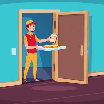 Koncepcja dostawy żywności. kreskówka facet dostarcza z pizzą w drzwiach domu.
