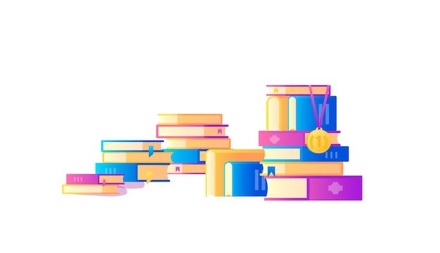Koncepcja dużej liczby książek do nauki projektowania. książki z banerami internetowymi dla edukacji.