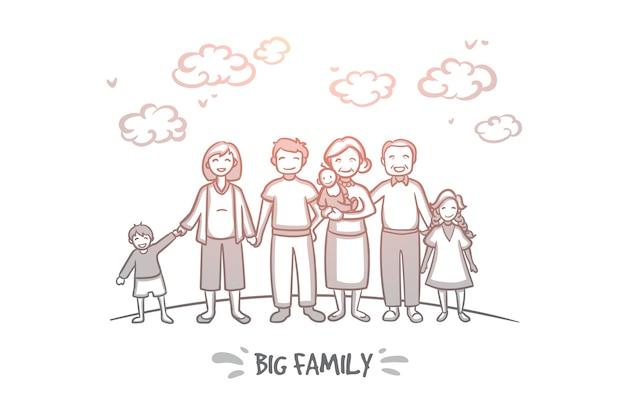 Koncepcja dużej rodziny. ręcznie rysowane duża grupa osób w jednej rodzinie. matka, ojciec, dzieci, babcia i dziadek ilustracja na białym tle.