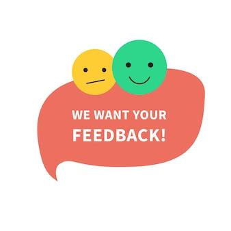 Koncepcja dymka z informacją zwrotną z tekstem, chcemy uzyskać baner opinii dla biznesu, marketingu i reklamy