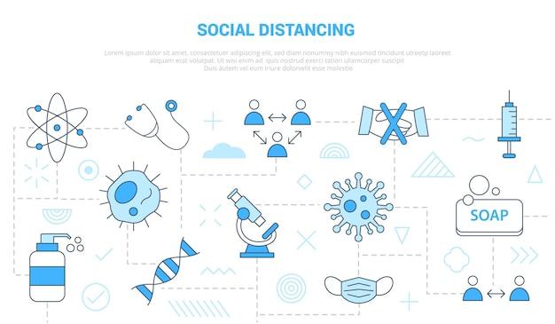 Koncepcja dystansowania społecznego z szablonem zestawu ikon banne