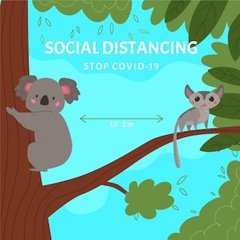 Koncepcja dystansowania społecznego z uroczymi zwierzętami
