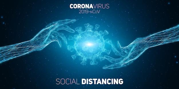 Koncepcja dystansu społecznego dwie ręce oddzielają się od siebie, aby zapobiec chorobie wieńcowej covid-19. ilustracja ochrony patogenów. tło koncepcji wirusa covid-19.