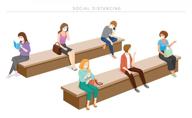 Koncepcja dystansu społecznego, ludzie noszący maski chirurgiczne siedzący z daleka, ochrona przed chorobą koronawirusa, covid-19