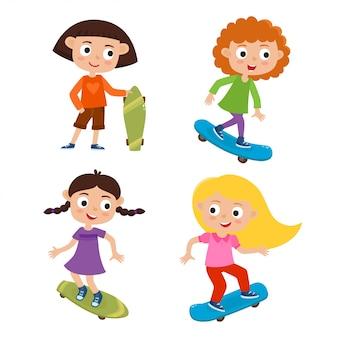 Koncepcja działalności lato skateboarding, zestaw dziewcząt skateboarder stać z deskorolka w stylu kreskówka na białym tle.
