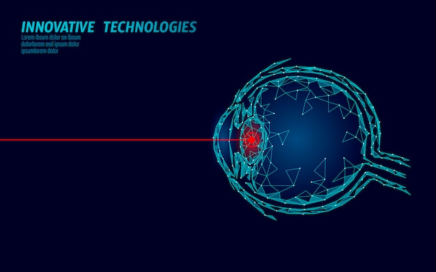Koncepcja działania medycyny laserowej korekcji wzroku. innowacyjna technologia opieki zdrowotnej. trójwymiarowy wielokątny skaner biometryczny eye 3d low poly. ludzka gałka oczna okulistyki