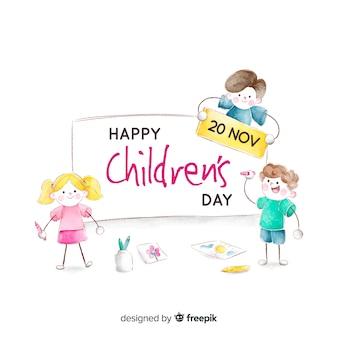 Koncepcja dzień dziecka w akwareli