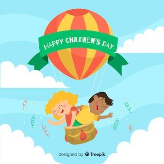 Koncepcja dzień dziecka w płaskiej konstrukcji