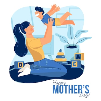 Koncepcja dzień matki w płaskiej konstrukcji