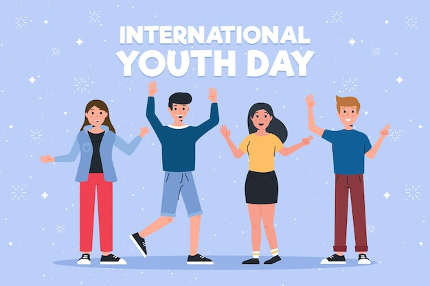 Koncepcja dzień młodzieży w płaskiej konstrukcji