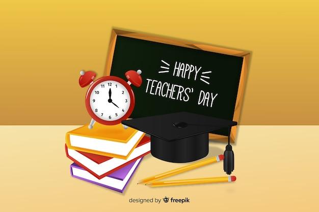 Koncepcja dzień nauczyciela z realistycznym tłem