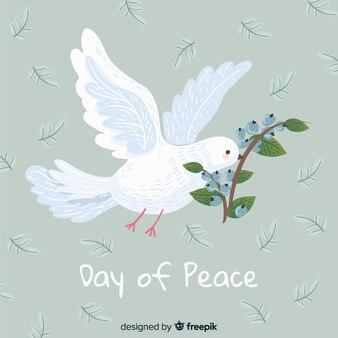 Koncepcja dzień pokoju z ręcznie rysowane gołąb
