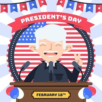Koncepcja dzień prezydentów w płaska konstrukcja