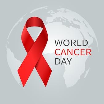 Koncepcja dzień raka. światowa wstążka świadomości raka. prewencyjny sztandar opieki zdrowotnej