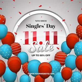 Koncepcja dzień singli kolorowych balonów