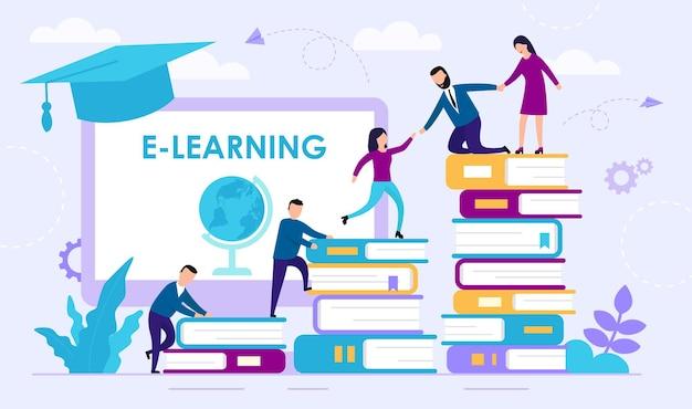 Koncepcja e learningu. ludzie wspinają się stosem książek.
