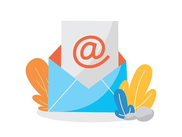 Koncepcja e-mail lub poczty. odbierz wiadomość w skrzynce pocztowej. powiadomienie pocztą. przychodząca wiadomość w kopercie. ilustracja