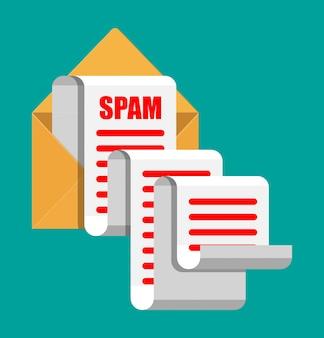 Koncepcja e-maili i spamu w żółtym papierze. długie e-maile. hakowanie skrzynek e-mail, ostrzeżenia przed spamem, wirusy i złośliwe oprogramowanie, bezpieczeństwo sieci. ilustracja wektorowa w stylu płaski