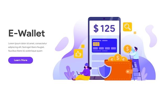 Koncepcja e-portfela z telefonem komórkowym do strony docelowej, strony internetowej, strony głównej