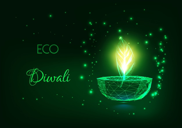 Koncepcja eco diwali ze świecącą niską wielokątną lampą diya i zielonym liściem na ciemnozielonym.