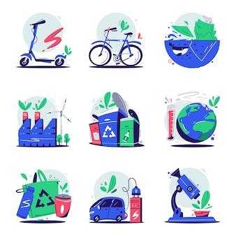 Koncepcja eco. ekologia zestaw ikon lub logo. mikroskop i liść. fabryka recyklingu śmieci. jazda na rowerze, topienie, zakupy, nauka. samochód elektryczny. bezpieczeństwo planety. globalne ocieplenie
