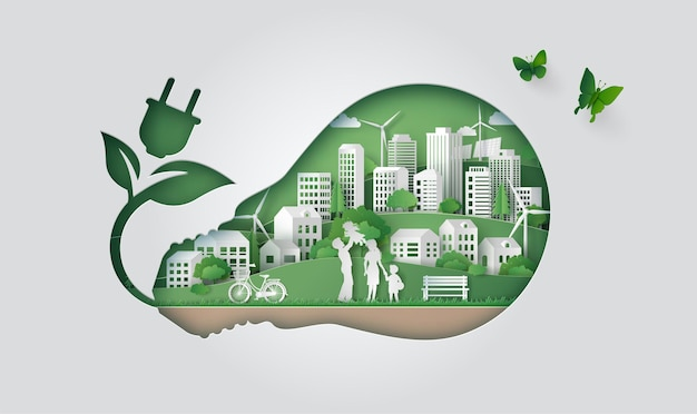Koncepcja eco i zielona moc z szczęśliwą rodziną w zielonym mieście. ilustracja cięcia papieru