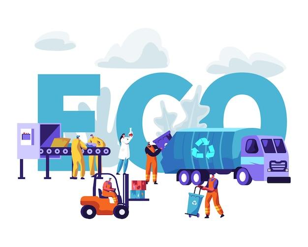 Koncepcja eco recykling śmieci. płaskie ilustracja kreskówka
