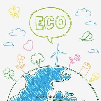 Koncepcja eco w stylu szkic