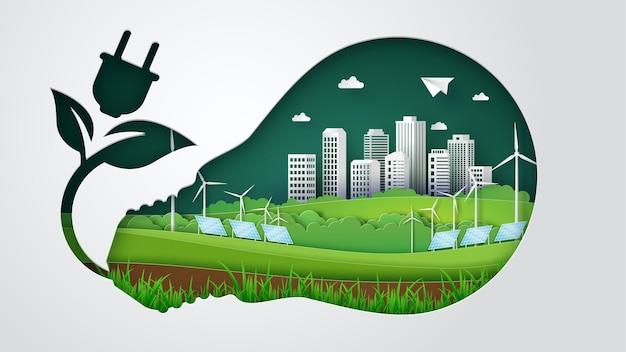 Koncepcja eco z zieloną energią i zielonym miastem, wiatrak, ogniwo słoneczne. ilustracja cięcia papieru
