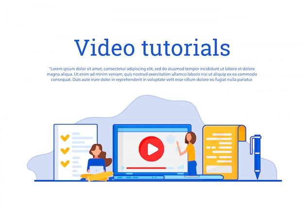 Koncepcja edukacja, szkolenie online, studiowanie internetu, samouczek wideo.