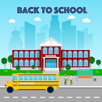 Koncepcja edukacji. budynek szkoły i autobus szkolny.