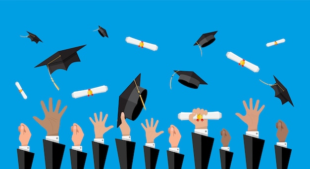 Koncepcja edukacji. college, ceremonia uniwersytecka